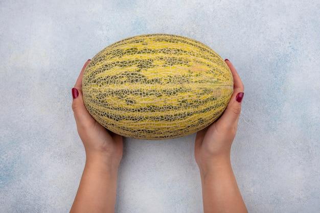 Bovenaanzicht van vrouwelijke hand met verse meloen op wit