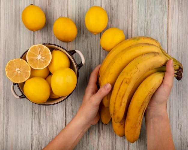 Bovenaanzicht van vrouwelijke handen met bananen met citroenen op een kom met citroenen geïsoleerd op een grijze houten achtergrond