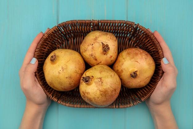 Bovenaanzicht van vrouwelijke handen met een emmer gele granaatappels op een blauwe ondergrond