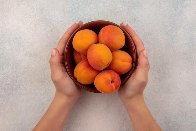 Bovenaanzicht van vrouwelijke handen met kom met abrikozen op witte achtergrond