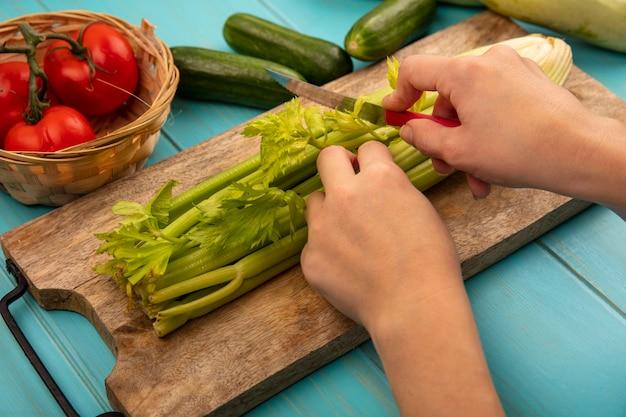 Bovenaanzicht van vrouwelijke handen selderij snijden op een houten keuken bord met mes met tomaten op een emmer met komkommers en courgettes geïsoleerd op een blauwe houten oppervlak