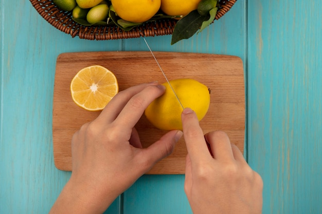 Bovenaanzicht van vrouwelijke handen snijden verse citroen op een houten keukenbord met mes met fruit zoals kinkans en citroenen op een emmer op een blauwe houten ondergrond