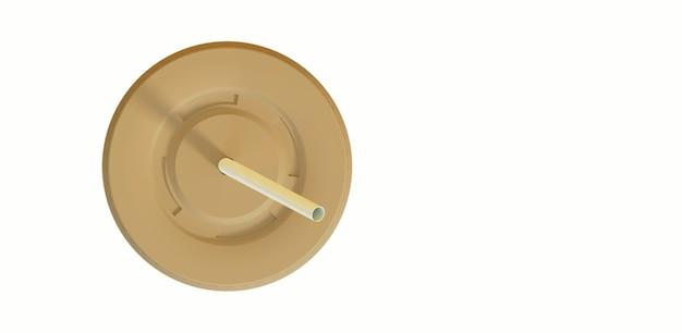 Bovenaanzicht van wegwerp frisdrankbeker met rietje. 3d-rendering. geschikt voor uw ontwerpelement.