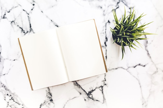 Bovenaanzicht van werkruimte en geopende notebook met mock up blanco pagina's