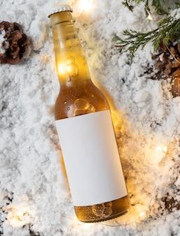 Bovenaanzicht van winter sneeuw concept