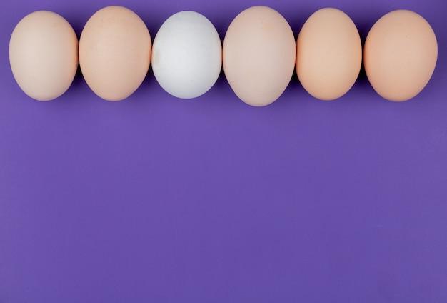 Bovenaanzicht van witte en crème gekleurde eieren gerangschikt in een lijn op een violette achtergrond met kopie ruimte
