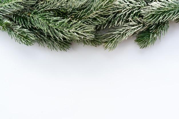 Bovenaanzicht van witte mockup vierkante achtergrondstructuur met bevroren pijnboomtakken boombladeren