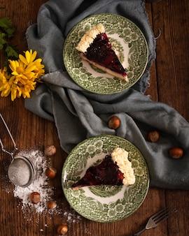 Bovenaanzicht van zelfgemaakte traditionele cake