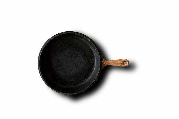 Bovenaanzicht van zwarte koekenpan geïsoleerd op wit. geschikt voor uw ontwerpelement.