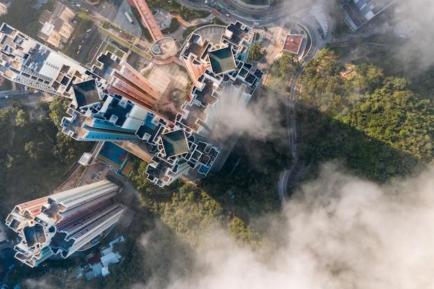 Bovenaanzicht vanuit de lucht van het stadsbeeld van hong kong