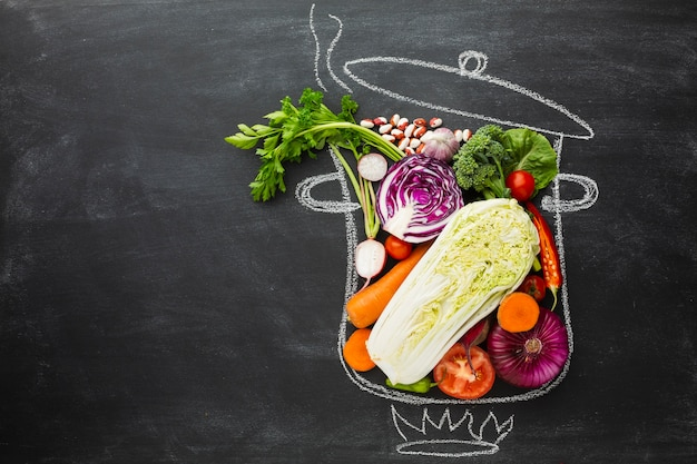 Bovenaanzicht vegan arrangement met kopie ruimte
