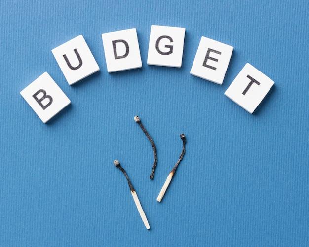 Bovenaanzicht verbrand komt overeen met regeling met budgetwoord