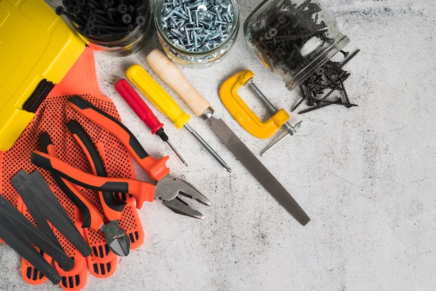 Bovenaanzicht verschillende soorten tools