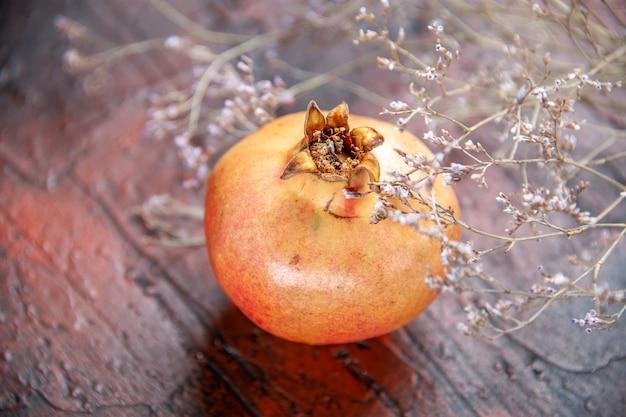 Bovenaanzicht verse granaatappel gedroogde wilde bloem tak op geïsoleerde achtergrond