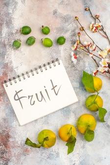 Bovenaanzicht verse mandarijnen feykhoas fruit geschreven op notebook abrikozenbloesem tak op naakte achtergrond
