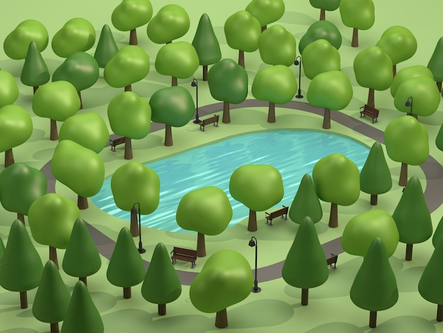 Bovenaanzicht vijver in groene parken en veel bomen laag poly 3d-rendering cartoon-stijl