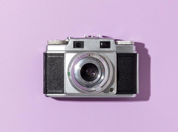 Bovenaanzicht vintage camera-compositie