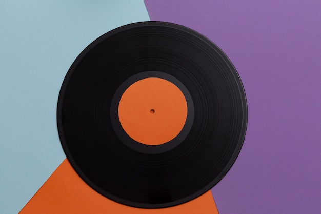 Bovenaanzicht vinylplaten arrangement