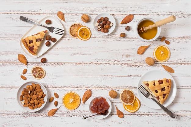 Bovenaanzicht voedsel circulaire frame met kopie-ruimte