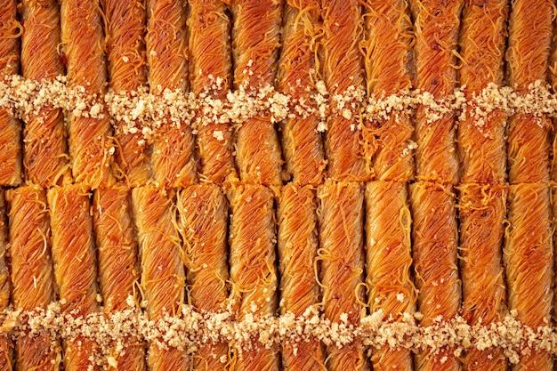 Bovenaanzicht voedselpatroon textuur van turkse baklava