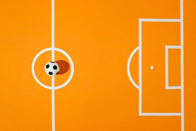 Bovenaanzicht voetbalveld stilleven