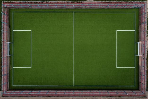Bovenaanzicht voetbalveld