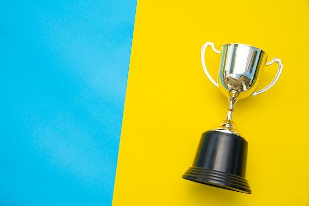 Bovenaanzicht voor trofee geplaatst op een kleurrijke achtergrond.