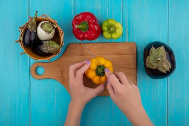 Bovenaanzicht vrouw snijdt gekleurde paprika op een snijplank met een mes met witte en zwarte aubergines in een mand op een turkooizen achtergrond