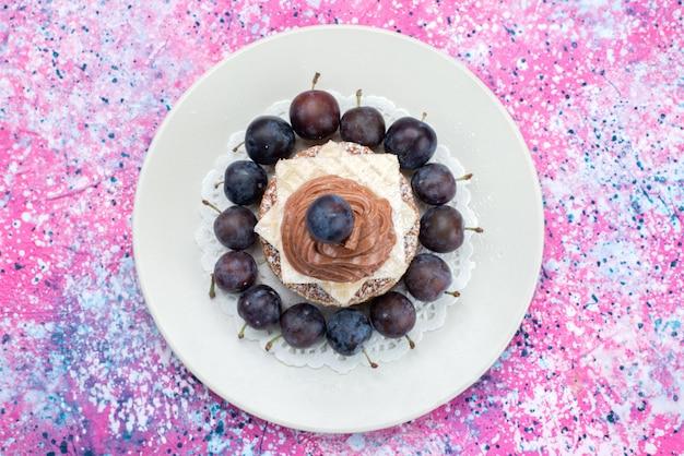 Bovenaanzicht wafel cake met room en pruimen in plaat op de gekleurde achtergrond fruit cake koekje suiker zoet