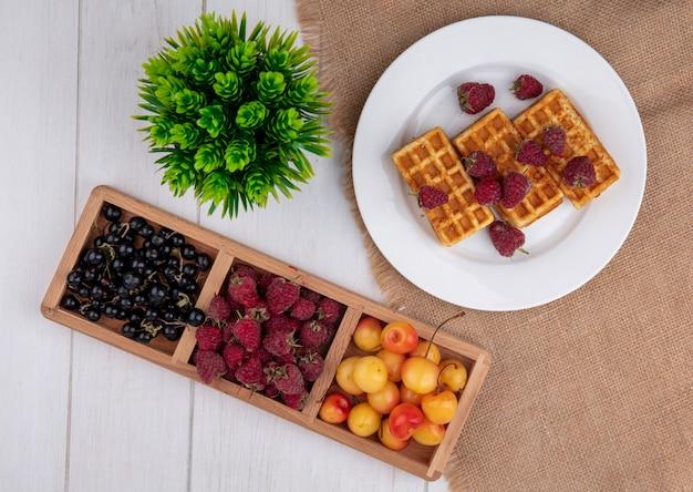 Bovenaanzicht wafels op een bord met frambozen, witte kersen en zwarte bessen op een witte tafel