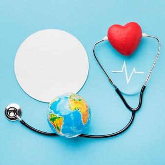 Bovenaanzicht wereld hart dag concept