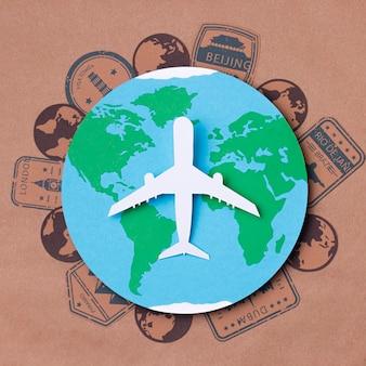 Bovenaanzicht wereld toerisme dag concept