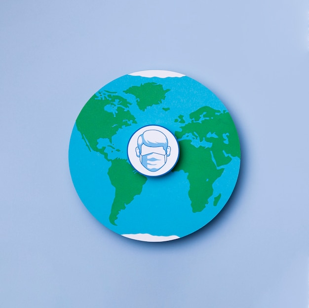 Bovenaanzicht wereldtoerisme dag met logo