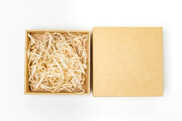 Bovenaanzicht winkelen kartonnen doos arrangement