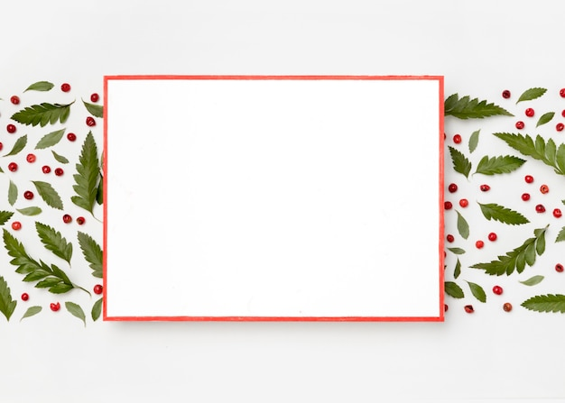 Bovenaanzicht wit frame omgeven door groene bladeren