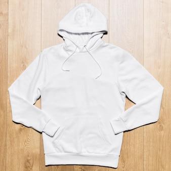 Bovenaanzicht witte hoodie