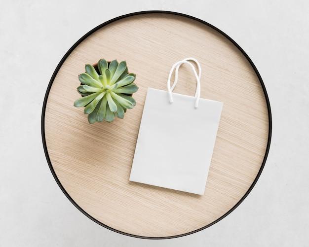 Bovenaanzicht witte papieren zak en plant