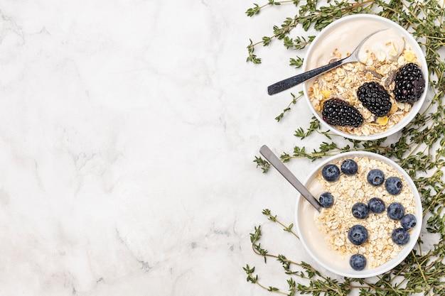 Bovenaanzicht yoghurt met fruit en haver met kopie-ruimte