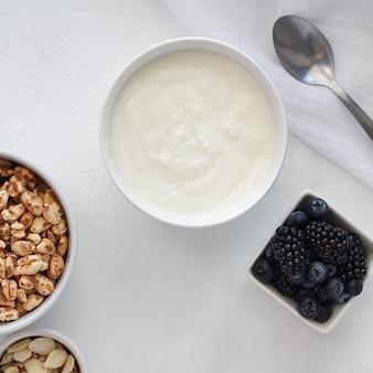 Bovenaanzicht yoghurtkom en fruit