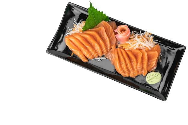 Bovenaanzicht zalm sashimi