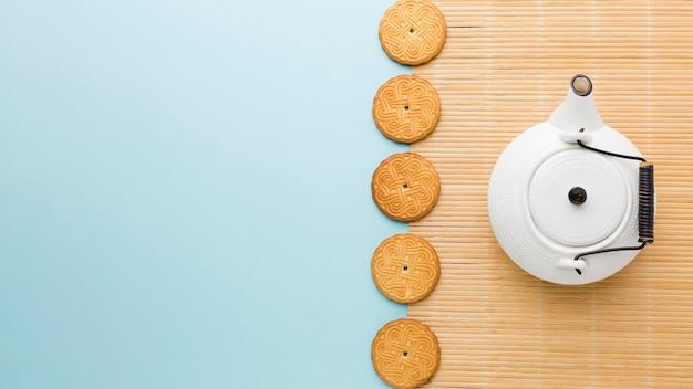 Bovenaanzicht zelfgemaakte koekjes met kopie ruimte