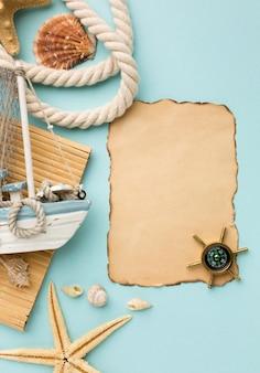 Bovenaanzicht zomer accessoires op tafel