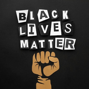 Bovenaanzicht zwarte levens zijn belangrijk voor beweging