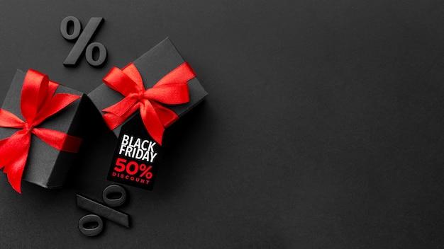 Bovenaanzicht zwarte vrijdag verkoopsamenstelling met kopie ruimte