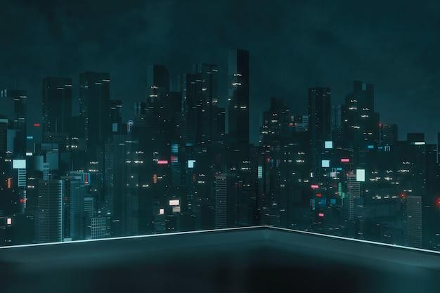 Bovenhoek van het dak van een gebouw met 's nachts uitzicht op de megastad