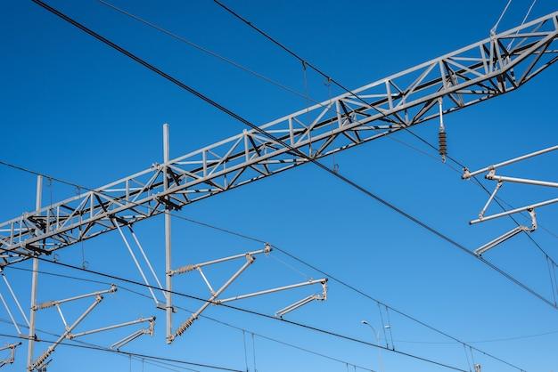 Bovenleiding van een elektrische trein.