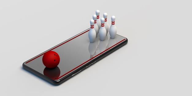 Bowlen op smartphone. spelconcept. bowling-app. banier. 3d illustratie. ruimte kopiëren.