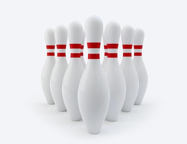 Bowling pins geïsoleerd op wit.