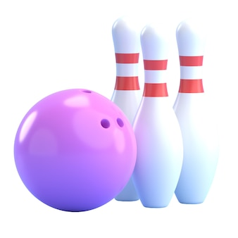 Bowlingbal en pins 3d render