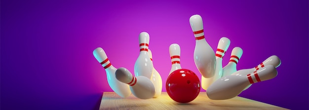 Bowlingstaking - bal raakt spelden in de steeg